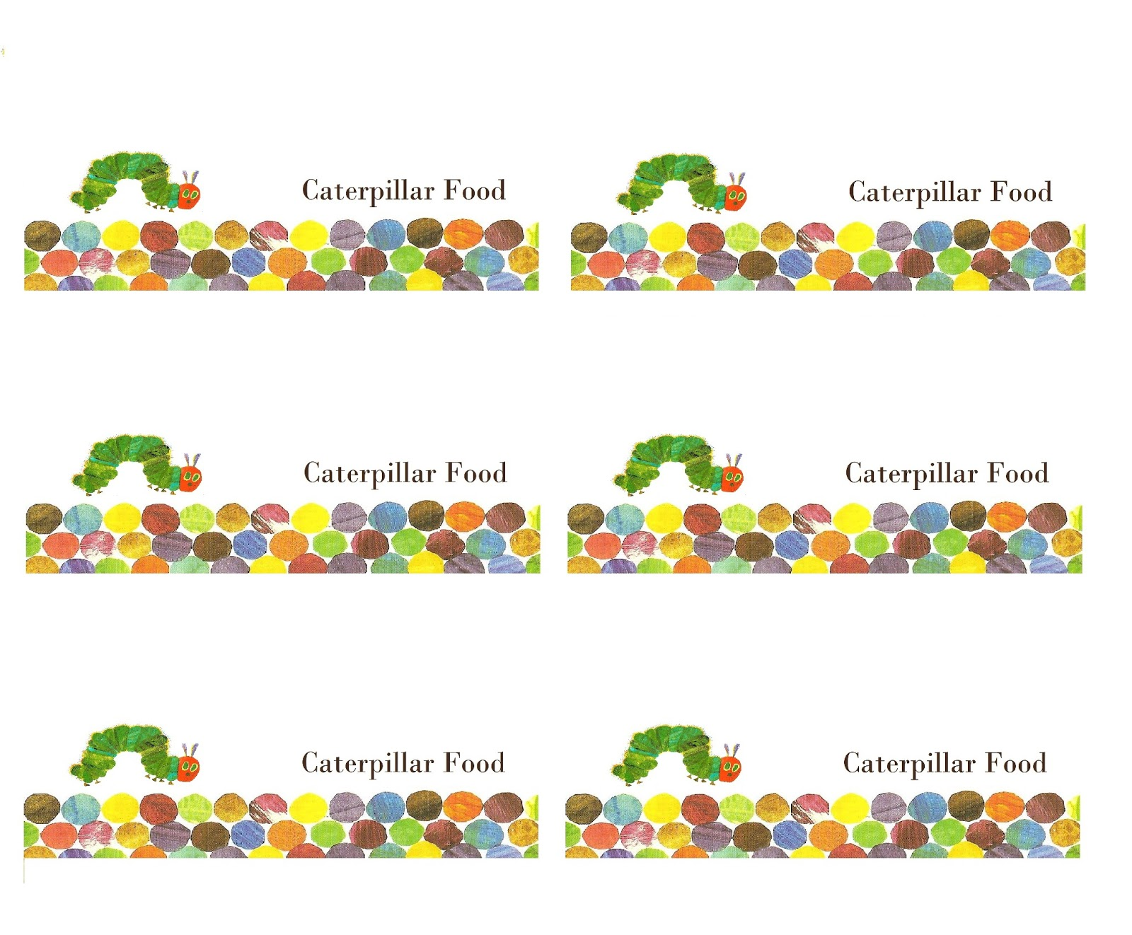 Make It Cozee Very Hungry Caterpillar Party Favor Printables