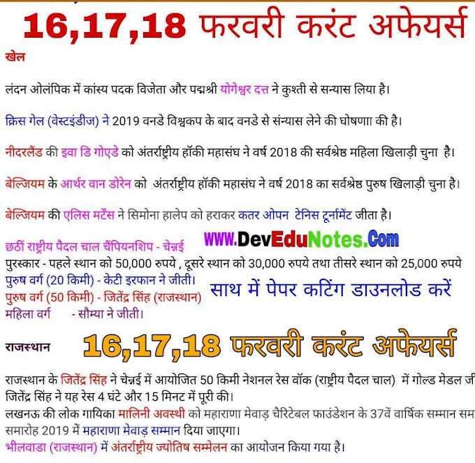 16,17,18 फरवरी करंट अफेयर्स 2019 || February Current Affairs 2019 In Hindi