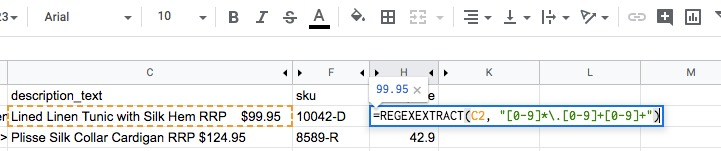 google sheet regexextract