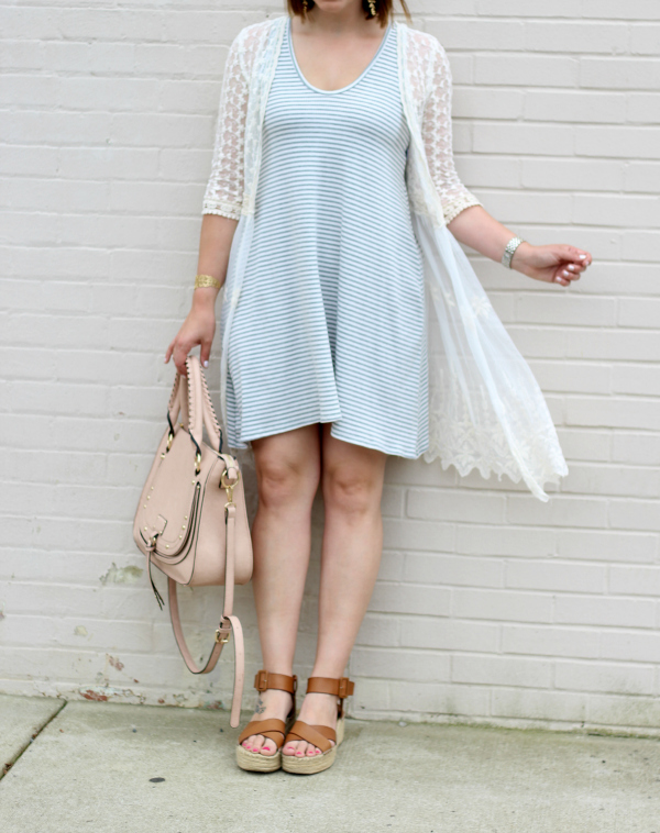 stella dot, jewelry, how to dress for spring, striped swing dress, style on a budget