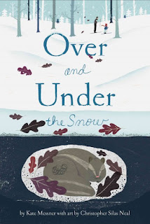 Cover of Over and Under the Snow book with images of parent and child skiing over the snow and an animal sleeping under the snow