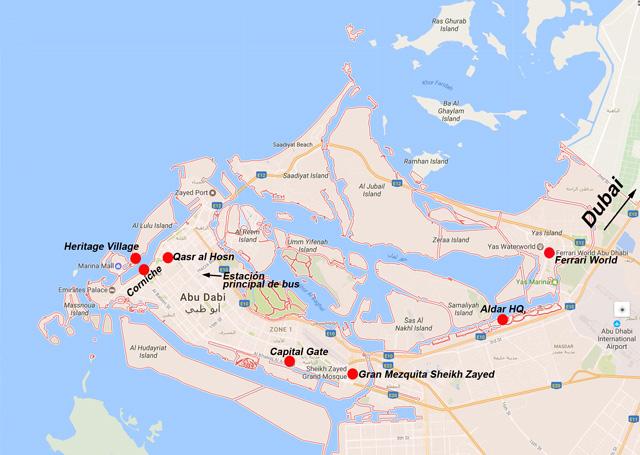 Mapa de Abu Dabi y sus atractivos turísticos