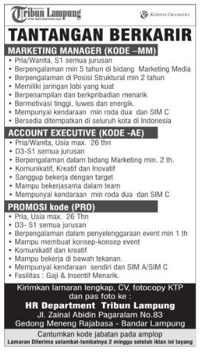 Lowongan Kerja Tribun Lampung September 2016 Terbaru