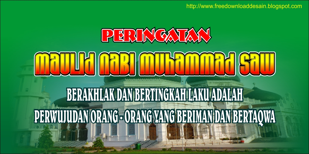 Spanduk Maulid Nabi Muhammad SAW ~ Free Download Desain