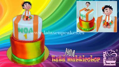Tarta personalizada fondant impresión comestible aerógrafo primer cumpleaños noa Laia's Cupcakes Puerto Sagunto