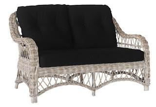 Sofa 2 Plazas de Rattan en Gris Cojines Acabado Negro Kubu