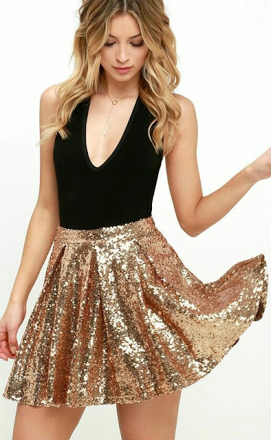 Deep V neck shirt with Golden sequence Skirt