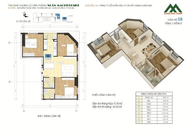 Thiết kế căn hộ 08 - dt 75m Xuân Mai Riverside