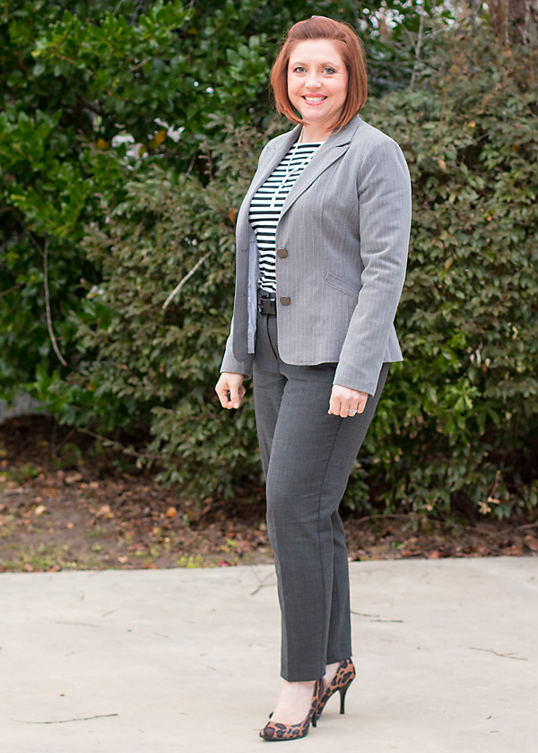 grey office outfit, leopard pumps outfit