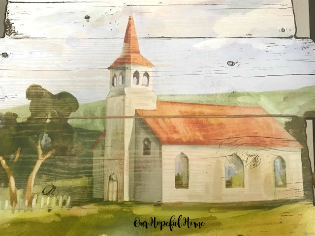 pallet wood country church painting