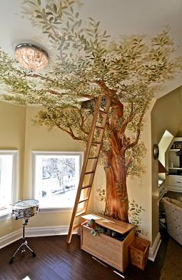 Decoración de recamara o habitación pintando un árbol