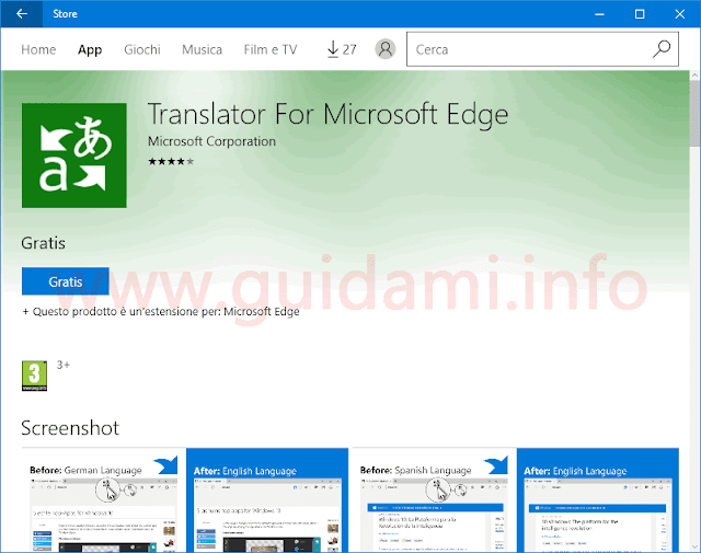 Pagina info e download estensione Microsoft Edge