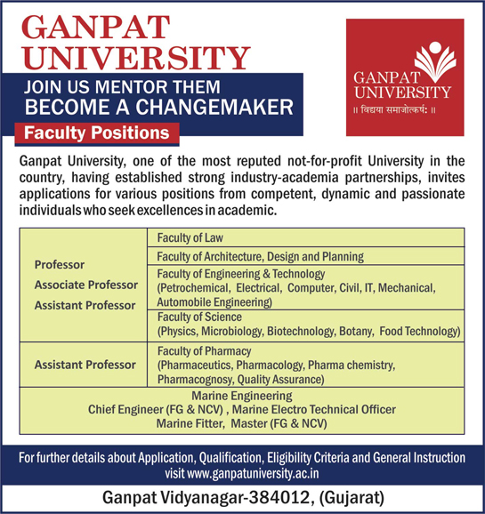 GANPAT University Microbiology/Biotech/Botany Faculty Jobs