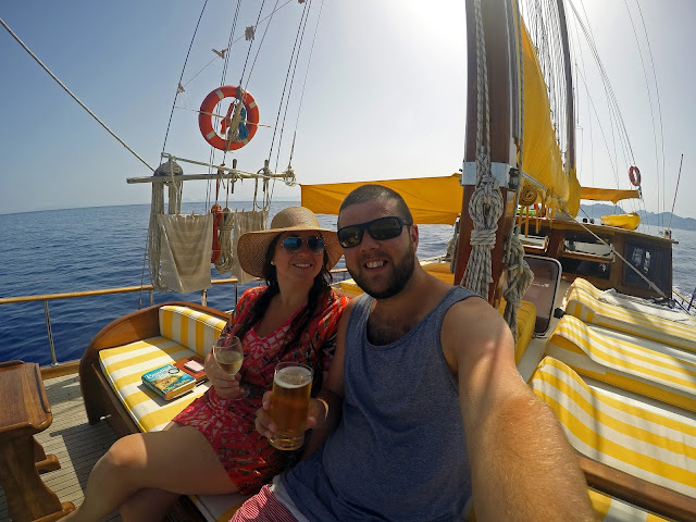 Couple sailing in Turkey on Luxury Gulet