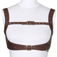 Steampunk accessories for men and women. Clockwork Slinger Chest Harness in brown leather