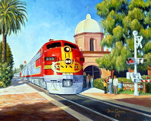 Paintings of Pelicans and Trains in San Clemente and San Juan Capistrano
