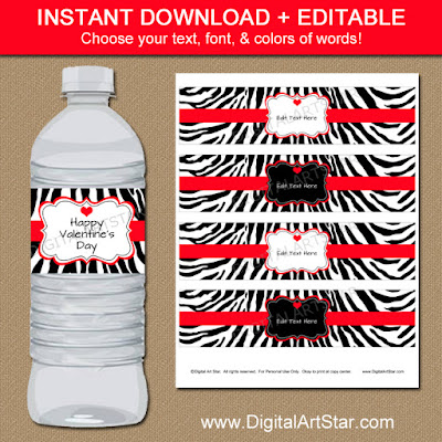 birthday zebra valentine water bottle lables