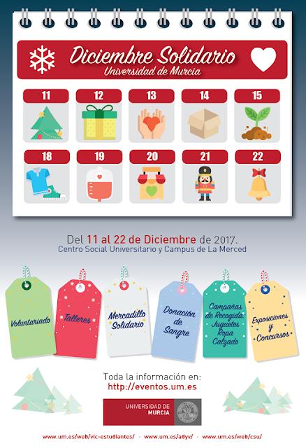 Diciembre Solidario en la Universidad de Murcia 2017.