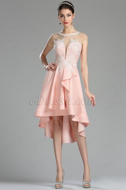 eDressit Unique Pink Lace Appliques Short Cocktail Dress (04180201)