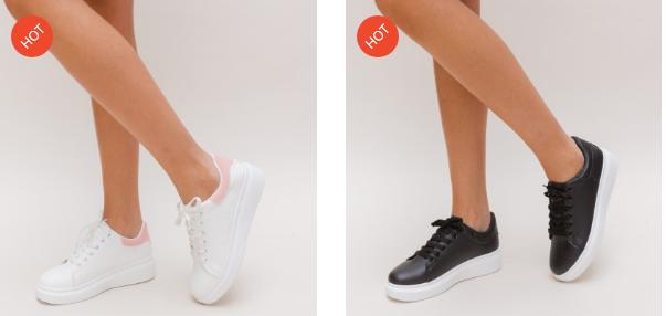 Adidasi simpli de femei negri, albi moderni