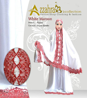 Gambar Telekung Mukena Bali Azzahra  Renda Maroon Malaysia