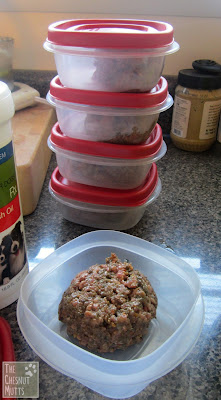 portioning out WellyChef dog food to freeze