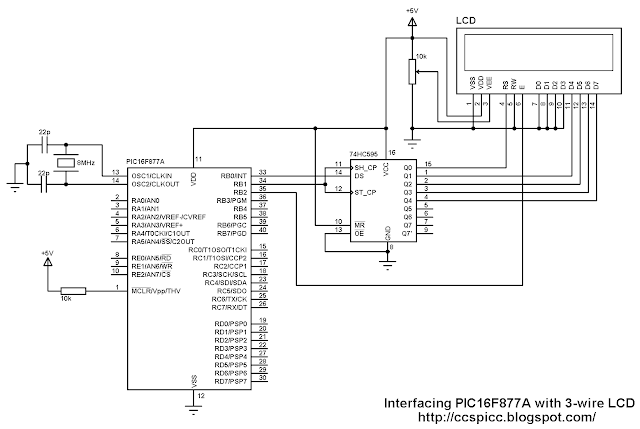 Interfacing PIC16F877A with 3 wire serial LCD circuit