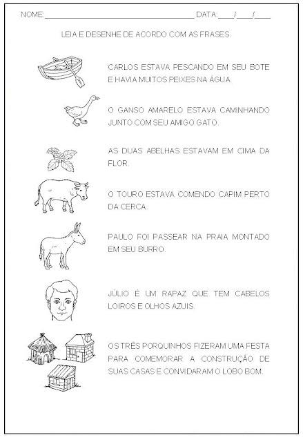 Hipótese de escrita alfabética - Alfabetização - Desenhe de acordo com as frases