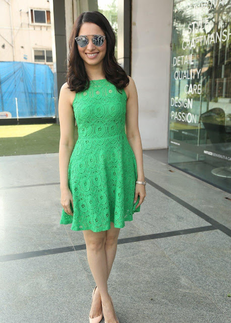 "Tamannaah Bhatia Showcasing Her Sexy Legs In a Green Short Dress At Telugu Film ""Oopiri"" Promotions At Radio City Studios In Hyderabad"