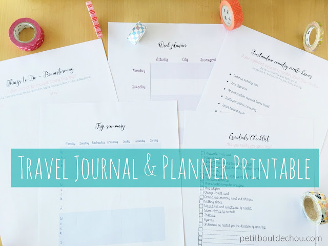 Travel journal and planner printable