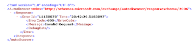 error code 600 - Configure Autodiscover In Exchange Server 2016