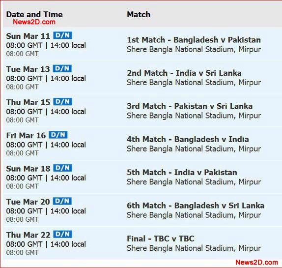 Asia Cup 2012 Time table and ScheduleWatch Live Sports Online Links