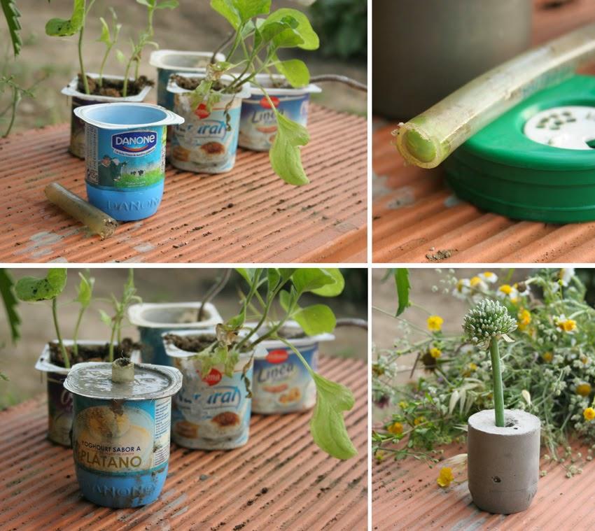 Diy floreros de cemento con botes de yogur reciclados y tubo de goma