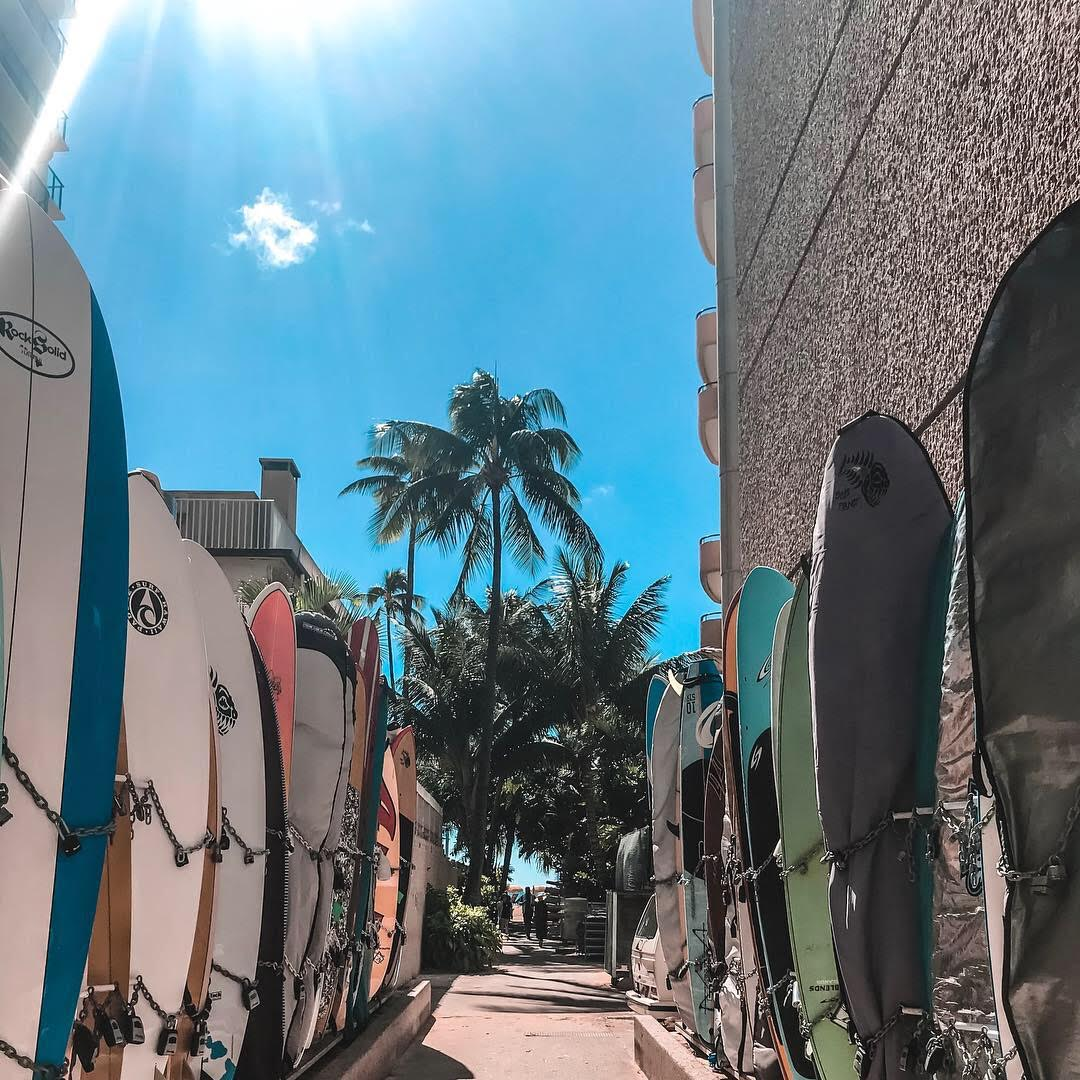 surfboards in Duke Alley at Waikiki Beach in Hawaii