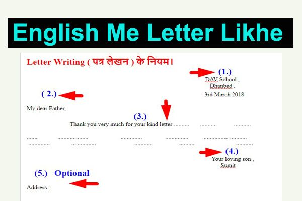 english me letter kaise likhe