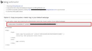 kode verifikasi webmaster tools bing