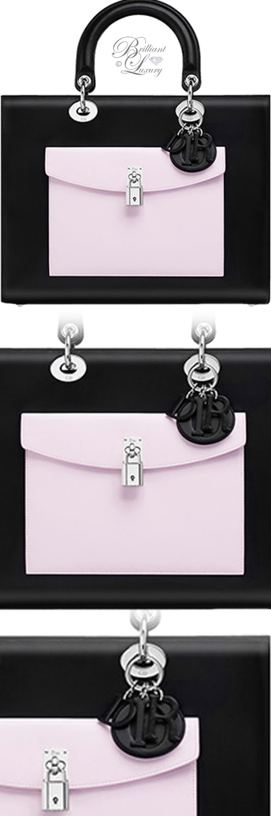 Brilliant Luxury ♦ Lady Dior black lambskin bag with contrasting pockets