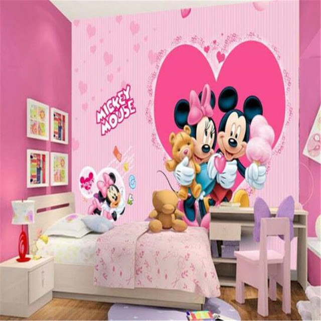 Childrens wall murals kids room Mickey Mouse Mimmi Disney Heart Photo Wallpaper 3D Pink Decoration Baby Girl Room Wall Mural
