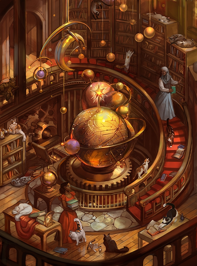 06-Library-with-spiral-Staircase-Julie-Dillon-Fantasy-Worlds-Explored-with-Digital-Art-Drawings-www-designstack-co