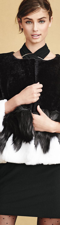 Halston Heritage Short Mixed-Fur Jacket