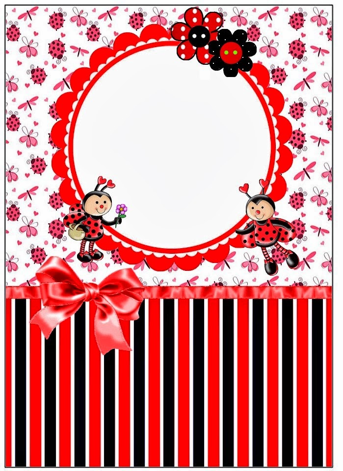 Etiquetas de Mariquitas Sonrientes para imprimir gratis.