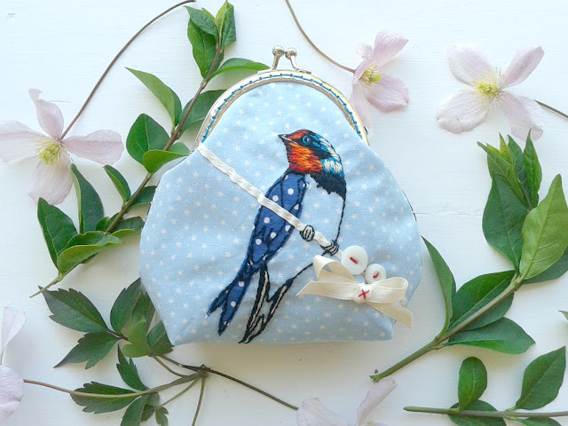 embroidery, handmade, handmade purse, bespoke purse, birds, Jenny Blair