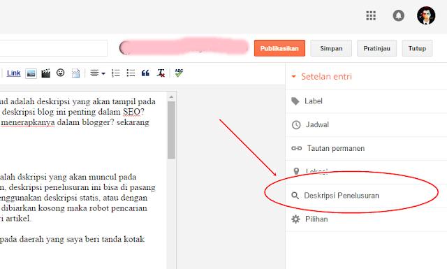 tampilan menu deskripsi penelusuran artikel