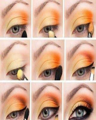 maquillaje de ojos llamativos naranja