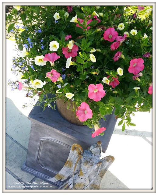 Flower Planter- Petunias-Curb Appeal- From My Front Porch To Yours