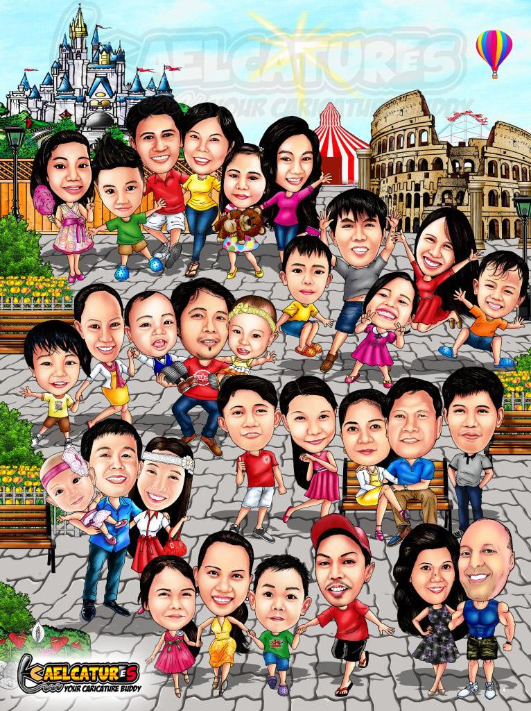 Kaelcatures Big Family Caricature