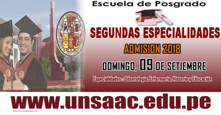 Resultados UNSAAC 2018 (Domingo 9 Septiembre) Relación de Aprobados Examen de Admisión Segunda Especialidad - ESCUELA DE POSGRADO - Universidad Nacional de San Antonio Abad del Cusco - www.unsaac.edu.pe
