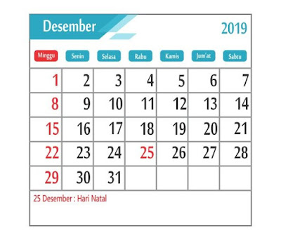 Kalender Desember 2019 - tanggal merah