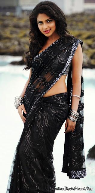 amala paul hot black saree navel show stills