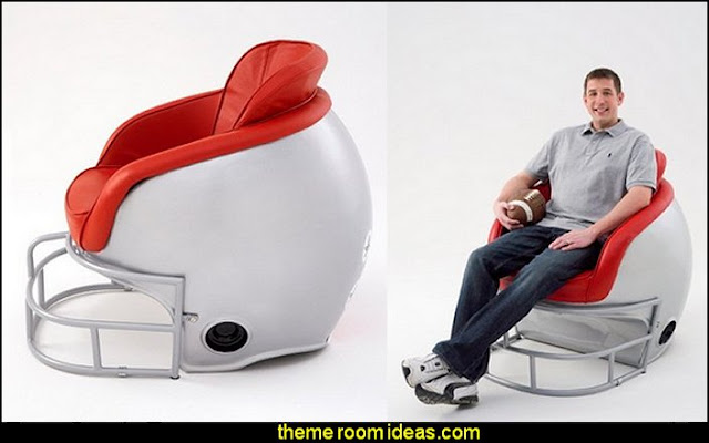 Football Helmet Leather Lounge Chair  Sports Bedroom decorating ideas -  Wrestling theme bedroom decorating - boxing theme bedrooms - martial arts - skateboarding theme bedrooms  - football - baseball - basketball theme bedrooms - basketball bedding - golf theme bedrooms - hockey bedding - theme beds sports